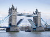 Tower Bridge Opening and River Thames  London  England  United Kingdom  Europe