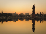 Statue of Shiva Rising Out of a Lake Sur Sagar in the Centre of Vadodara  Gujarat  India  Asia