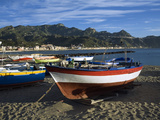 Fishing Boats on Beach  Giardini Naxos  Sicily  Italy  Mediterranean  Europe