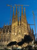 Sagrada Familia at Dusk  UNESCO World Heritage Site  Barcelona  Catalonia  Spain  Europe