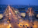 The Champs Elysees at Night from the Arc De Triomphe  Paris  France  Europe