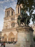 Gothic Notre Dame Cathedral and Statue of Charlemagne Et Ses Leudes  Place Du Parvis Notre Dame  Il