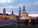 River Elbe  Skyline with Bruhlsche Terrasse  Hofkirche and Palace  Dresden  Saxony  Germany  Europe