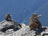 Traditional Inushuk Cairns at the Peak of Whistler Mountain  Whistler  British Columbia  Canada  No