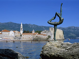 Statue and View of Old Town  Budva  the Budva Riviera  Montenegro  Europe