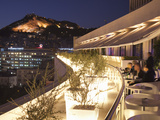 Rooftop Terrace Bar at the Athens Hilton with Lykavittos Hill Illuminated at Night  Athens  Greece 