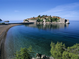 View of Island and Beach  Sveti Stefan  the Budva Riviera  Montenegro  Europe