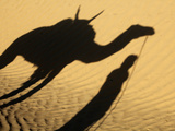 Camel Driver&#39;s Shadow in the Sahara Desert  Near Douz  Kebili  Tunisia  North Africa  Africa