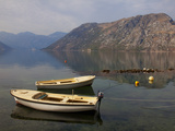 Boats Moored in the Fjord at Kotor Bay  Kotor  UNESCO World Heritage Site  Montenegro  Europe