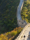 Hiker on Wild Wall  Great Wall of China  UNESCO World Heritage Site  Huanghuacheng (Yellow Flower W