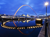 Gateshead Millennium Bridge and the Sage at Dusk  Newcastle  Tyne and Wear  England  United Kingdom