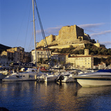 View over the Marina to Citadel and Haute Ville  Bonifacio  South Coast  Corsica  France  Mediterra