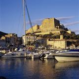 View over the Marina to Citadel and Haute Ville  Bonifacio  South Coast  Corsica  France  Mediterra