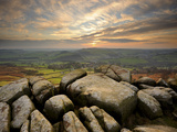 Sunset over Baslow  Curbar Edge  Peak District National Park  Derbyshire  England  United Kingdom