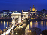 Chain Bridge and St Stephen's Basilica at Dusk  UNESCO World Heritage Site  Budapest  Hungary  Eur