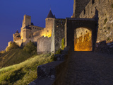 Dusk at the Entrance to La Cite in Carcassonne  UNESCO World Heritage Site  Languedoc-Roussillon  F