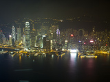 High View of the Hong Kong Island Skyline and Victoria Harbour at Night  Hong Kong  China  Asia