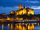 Castle of Meissen at Night Above the River Elbe  Saxony  Germany  Europe