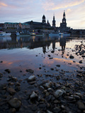 Sunrise over the Elbe River with Dresden in the Background  Saxony  Germany  Europe