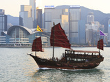 Chinese Junk Boat Sails on Victoria Harbour  Hong Kong  China  Asia