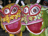 Chinese Dragon Dance at Chinese New Year Celebrations  Vietnam  Indochina  Southeast Asia  Asia