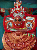 Man in Costume Representing a God at the Teyyam Ceremony  Near Kannur  Kerala  India  Asia