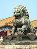 Bronzed Lion Guards Gate of Heavenly Purity  Forbidden City  UNESCO Site  Beijing  China  Asia