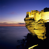 Haute Ville on Cliff Edge at Dusk  Bonifacio  South Corsica  Corsica  France  Mediterranean  Europe