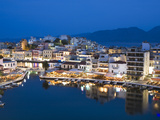 View over Harbour and Restaurants at Dusk  Ayios Nikolaos  Lasithi Region  Crete  Greek Islands  Gr