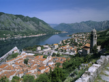 View over Old Town and Bay from Fortress of St Ivan  Kotor  UNESCO World Heritage Site  the Boka K
