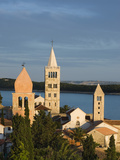 View over Campaniles of Old Town  Rab Town  Rab Island  Kvarner Gulf  Croatia  Adriatic  Europe