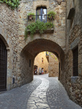Street Scene in Old Town  Pals  Costa Brava  Catalonia  Spain  Europe