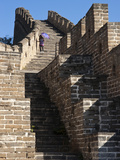 Person Descending Stairs  Great Wall of China  UNESCO World Heritage Site  Huanghua Cheng (Yellow F