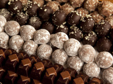 Close-Up of Rows of Chocolates in a French Cafe  France  Europe