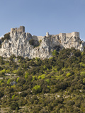 View of the Cathar Castle of Peyrepertuse in Languedoc-Roussillon  France  Europe