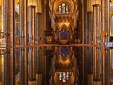 The Beautiful Nave and Font of Salisbury Cathedral  Wiltshire  England  United Kingdom  Europe