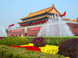 Heavenly Gate Entrance to Forbidden City Decorated with Fountains and Flowers During National Day F