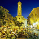 Evening Cafe Scene in Main Square of Old Town  Porto Vecchio  South East Corsica  Corsica  France