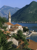 View over Village with the Church of St Nikola Belfry  Perast  the Boka Kotorska (Bay of Kotor)  U