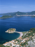 View over the Island and Bay  Sveti Stefan  the Budva Riviera  Montenegro  Europe