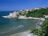 View over Beach to the Old Fortified City  Ulcinj  Haj-Nehaj  Montenegro  Europe