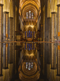 Looking across the Font and Down the Nave of Salisbury Cathedral  Wiltshire  England  United Kingdo