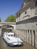 A Barge on the Canal Du Midi  UNESCO World Heritage Site  in Spring  Languedoc-Roussillon  France