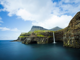 Village of Gasadalur Overlooked by the 612M Heinanova Mountain  Vagar Island  Faroe Islands  Denmar