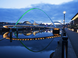 Gateshead Millennium Bridge  the Sage and Tyne Bridge at Dusk  Spanning the River Tyne Between Newc
