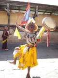 Buddhist Monk in Dance Costume Ready to Take Part in a Performance at the Tamshing Phala Choepa Tse