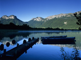 Silhouette of Pier and Rowing Boats  Lake Annecy  Rhone Alpes  France  Europe