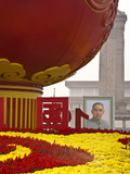 Portrait of Sun Yat Sen  Tiananmen Square  Decorated with a Globe and Flowers During National Day F