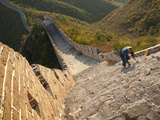 Chinese Man Climbs Great Wall of China  UNESCO World Heritage Site  Huanghuacheng (Yellow Flower) a