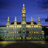 Rathaus (Town Hall) Gothic Building at Night  UNESCO World Heritage Site  Vienna  Austria  Europe